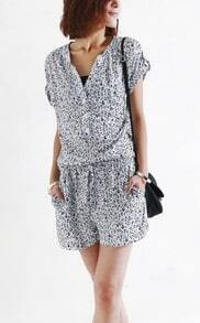 Black White Leopard Print Collarless Short Sleeve Jumpsuit with Tie Waist