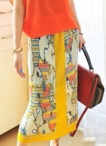 Yellow Contrast Trim Hawaiian Print Chiffon Maxi Skirt