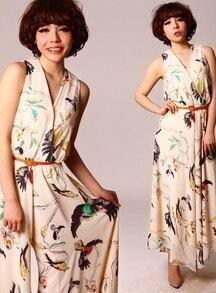 Cream V-neck Sleeveless Georgette Bird Print Jumpsuit