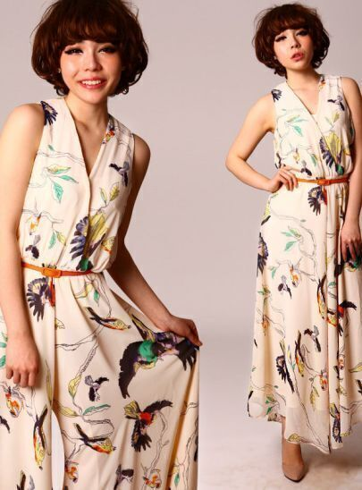 Cream V-neck Sleeveless Georgette Bird Print Jumpsuit