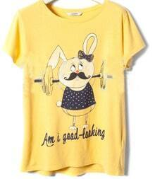 Rabbit Round Neck Short Sleeve Yellow T-shirt