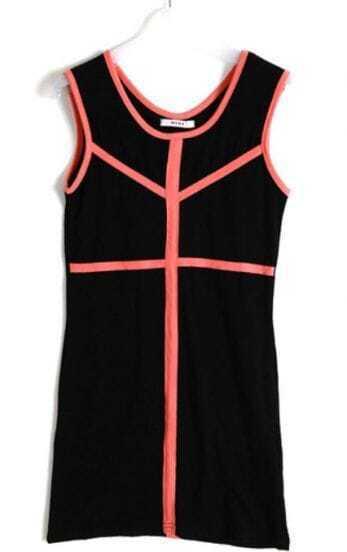 Black Knit Blends Contrast Trim Sleeveless T-shirt