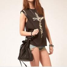 Coffee Cotton Sleeveless Cross Bones Muscle Tee
