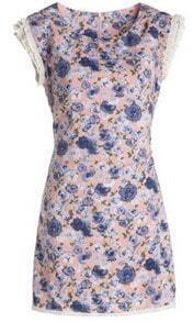 Small Floral Print Pleated Cap Sleeve Dress with Zipper Tie Back
