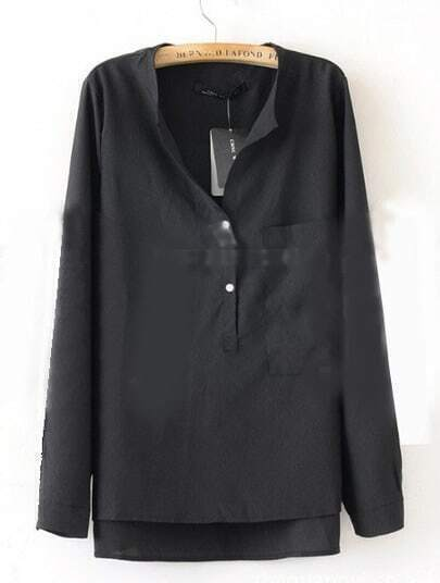 Black Collarless Dipped Hem Long Sleeve Blouse with Front Pocket