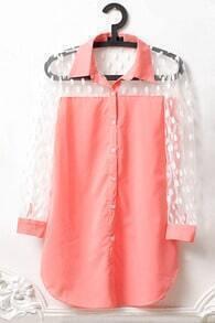 Pink Polka Dot Mesh Long Sleeve Curved Hem Shirt