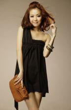 Solid Black One Shoulder Sleeveless Slim Irregular Dress