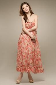 Bohemia Floral Strapless Long Chiffon Dress