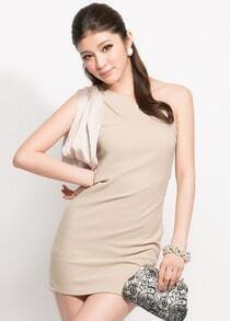 Solid Beige One Shoulder Sleeveless Slim Short Dress