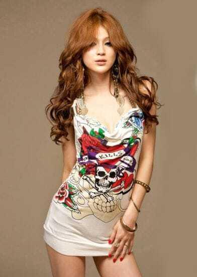Skull Printed Spaghetti Strap White Slim Short Dress