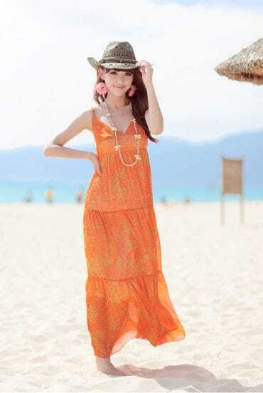 Bohemia Orange Star Printed Spaghetti Strap Long Chiffon Dress