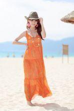 Bohemia Orange Star Printed Spaghetti Strap Long Chiffon Dress