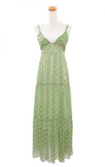 Bohemia Green Polka Dot Spaghetti Strap Long Chiffon Dress