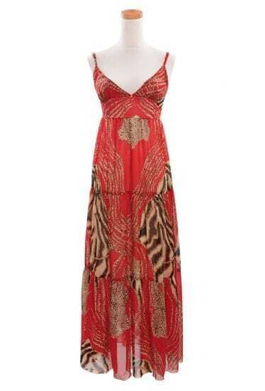Bohemia Leopard Red Spaghetti Strap Long Chiffon Dress