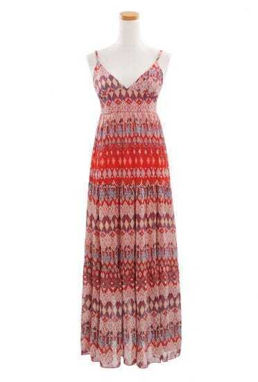 Bohemia Red Plaid Printed Spaghetti Strap Long Chiffon Dress