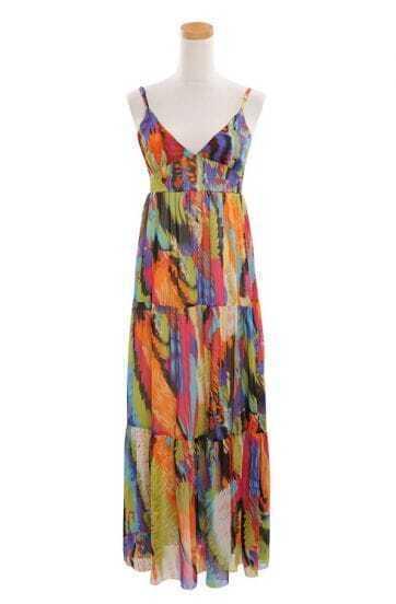 Bohemia Multicolor Spaghetti Strap Long Chiffon Dress