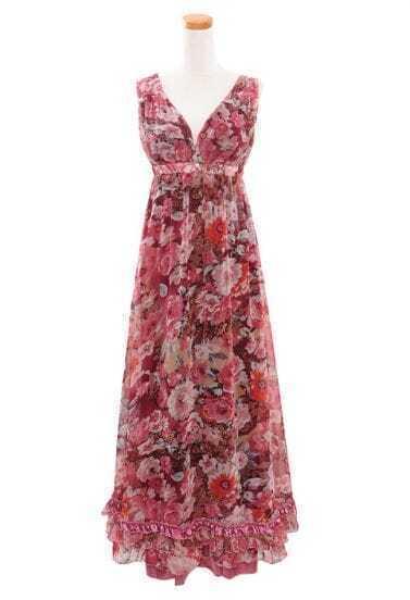 Red Floral Bohemia Spaghetti Strap Long Chiffon Dress