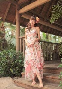 Pink Printed Spaghetti Strap Bohemia Long Chiffon Dress