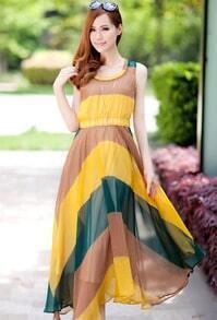 Yellow And Blue Striped Round Neck Sleeveless Irregular Chiffon Dress