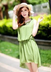 Bohemia Solid Green Round Neck Sleeveless Waist Irregular Chiffon Dress