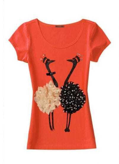 Orange Silk Flower Swan Round Neck Short Sleeve T-shirt