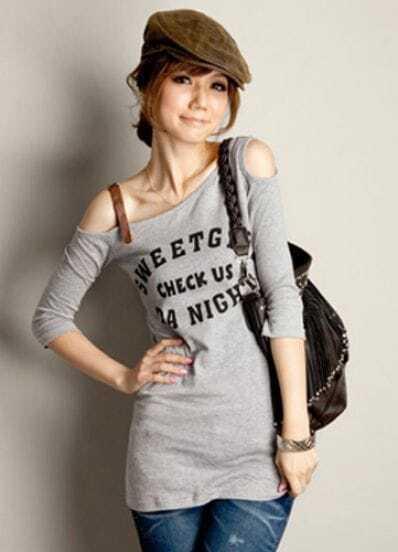Grey SWEETGIRL Off Shoulder Half Sleeve Slim T-shirt with Belt