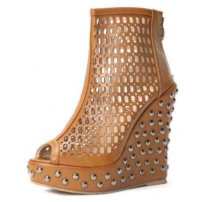Yellowish Brown Rivet PU Pierecd 113mm Wedges