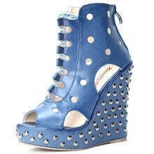 Blue Rivet PU Pierecd 135mm Wedges