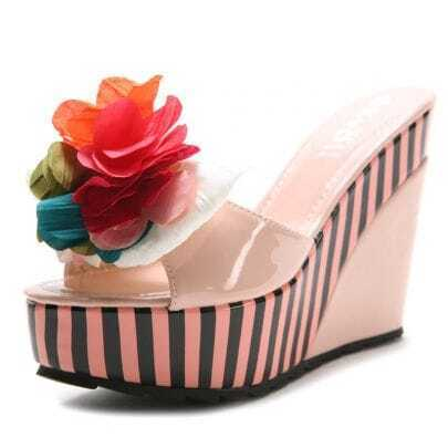 Pink PU Solid Flower 120mm Wedges