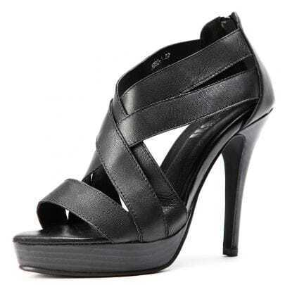 Black PU Criss-Cross 115mm Sandals