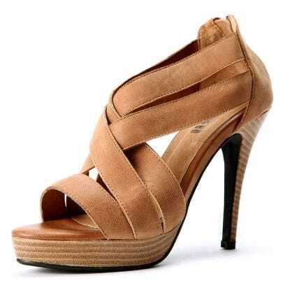 Brown PU Criss-Cross 115mm Sandals