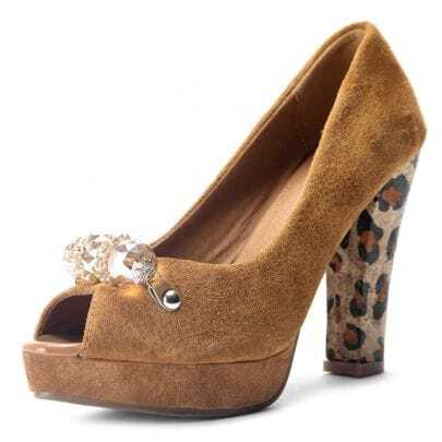Beading Camel Heel Leopard 115mm Pumps