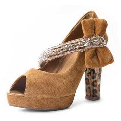 Bow Beading Camel PU 115mm Pumps