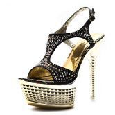 Black PU Rhinestone 150mm Sandals