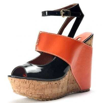 Orange Patent Leather And PU 130mm Wedges