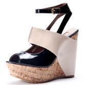 Beige Patent Leather And PU 131mm Wedges