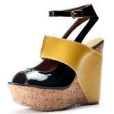 Yellow Patent Leather And PU 132mm Wedges