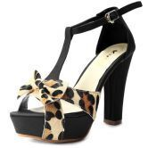 Leopard Bow Black PU 115mm Sandals
