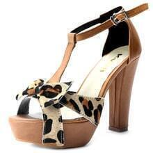 Leopard Bow Brown PU 115mm Sandals