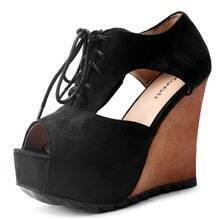 Black Woolen Lace up 115mm Wedges