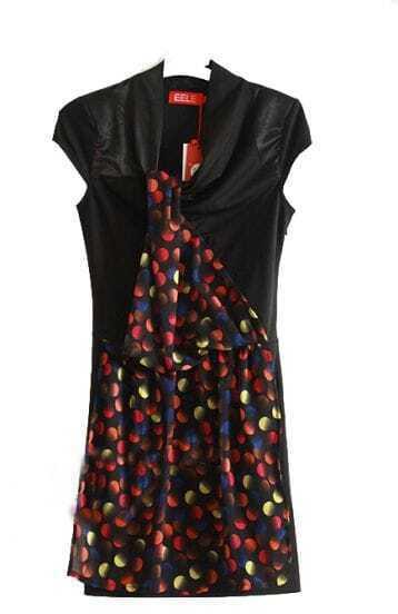 Yellow Dot Print Patchwork Chiffon Short Sleeve Dress