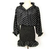 Black Boat Neck Dot Print Long Sleeve Chiffon Dress