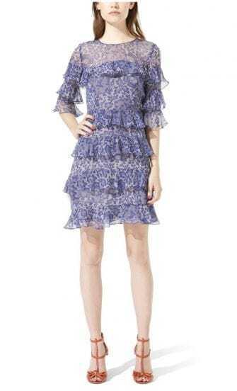 Blue Round Neck Ruffles Half Sleeve Dress