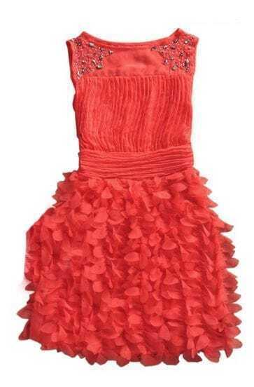 Watermelon Beading Round Neck Tank Chiffon Dress