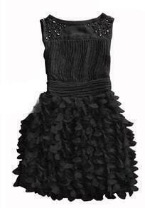 Black Beading Round Neck Tank Chiffon Dress