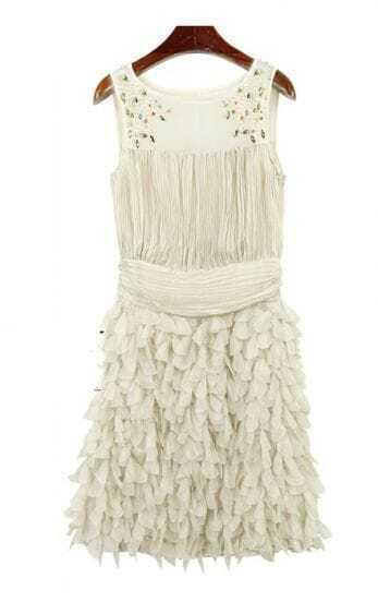 White Beading Round Neck Tank Chiffon Dress