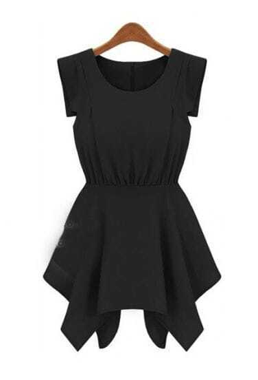 Black Round Neck Sleeveless High Waist Chiffon Dress