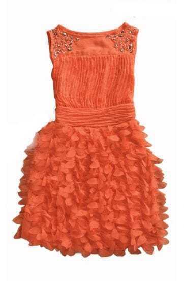 Orange Beading Round Neck Tank Chiffon Dress