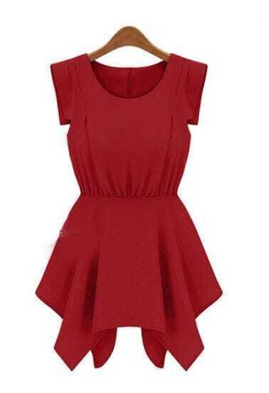 Red Round Neck Sleeveless High Waist Chiffon Dress