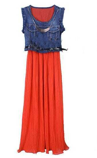 Denim Patchwork Orange Chiffon Round Neck Sleeveless Dress